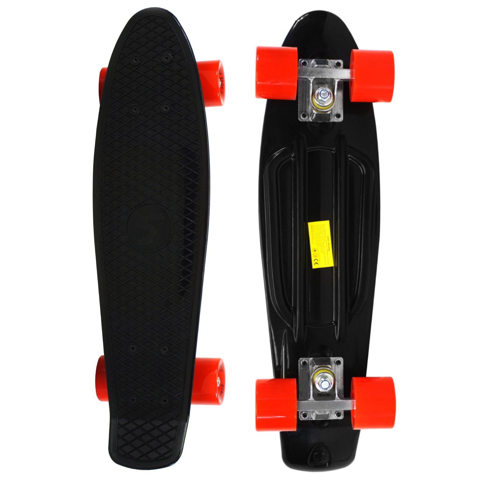 Scale Sports 22'' Skateboard Complete Pastel Street Retro Cruiser Classic Plastic Deck Black Red