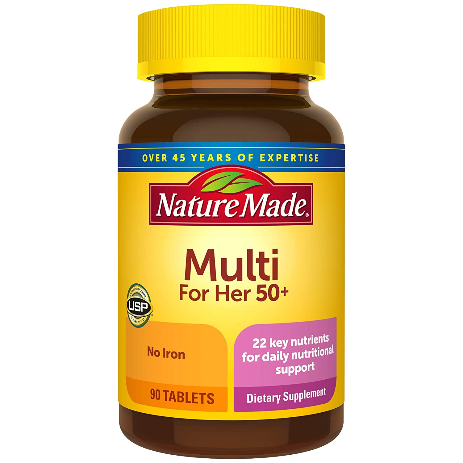 Nature Made Women's Multivitamin 50+ Tablets, 90 Count for Daily Nutritional Support