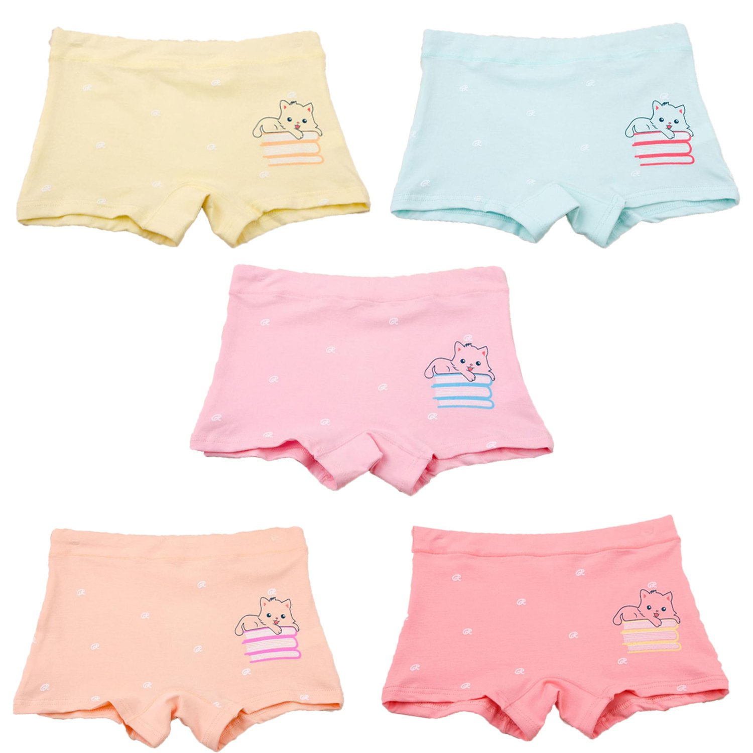 SYROSA Girls' Boyshort Knickers Children Briefs Cotton Underwear 5pcs Panties 6-8 Years
