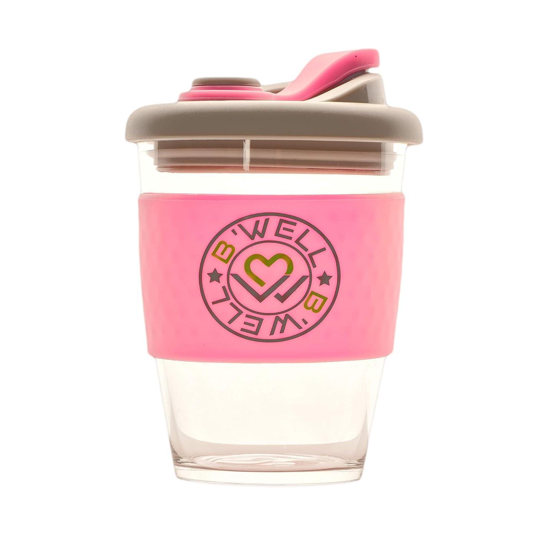 New B'WELL Cup 12 oz - Reusable Coffee Cup With Straw - Glass Travel Mug - To Go Coffee Mug - Spill Proof Lid - Tea Travel Mug - Hot and Cold Drinks - Dishwasher and Microwave Safe