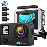 Caméra de Sport Étanche 4K Wifi Ultra HD, VicTop Appareil Photo Étanche Double Ecrans, Angle de Vision de 170º, avec 3 Batterie Rechargeables de 1050mAh,un Chargeur et un Perche à Selfie Inclus