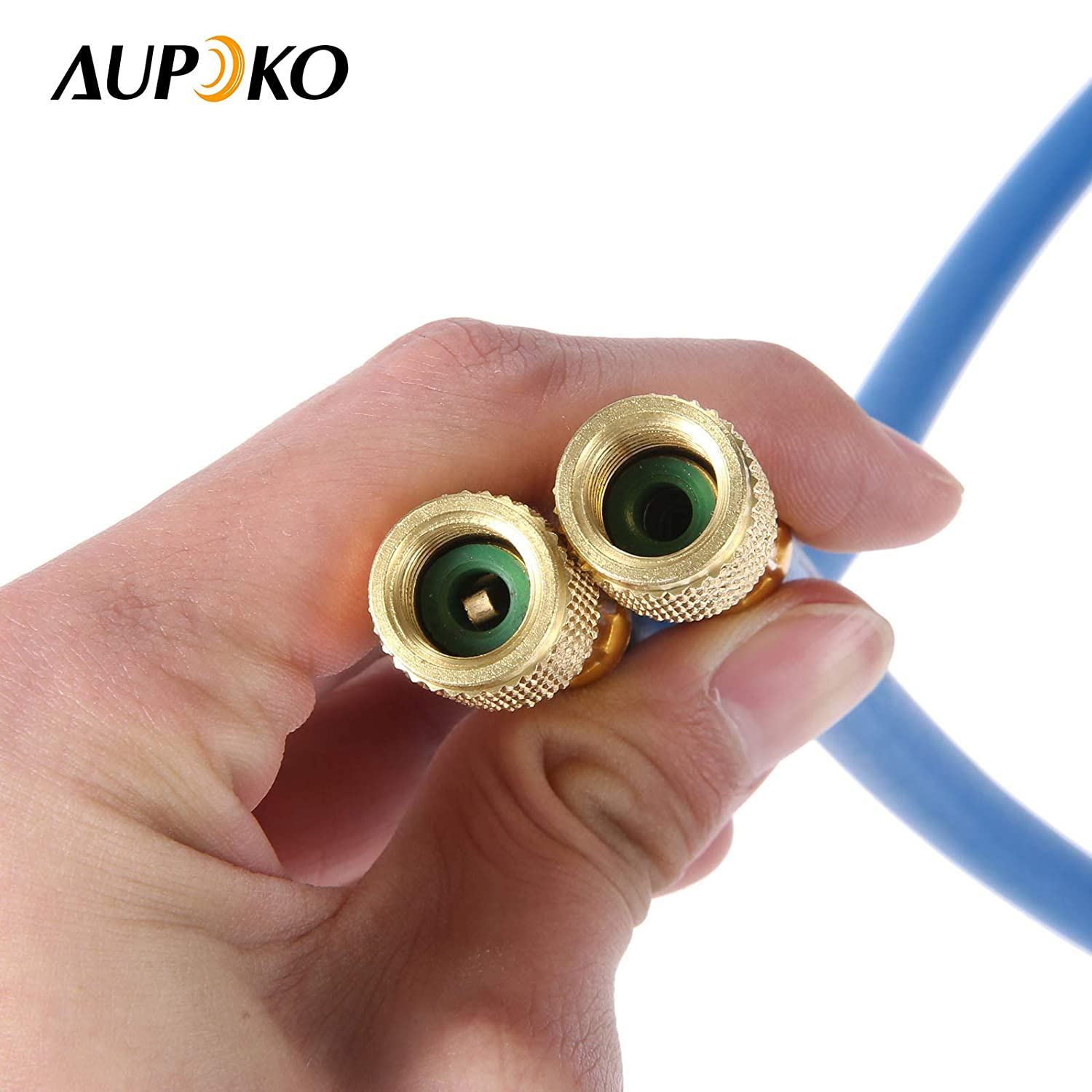 1 Year Warranty R134A Quick Couple Low Pressure Gauge and 59 Recharge Hose Aupoko A//C R-134A Refrigerant Recharging Hose Kit with 1//2/'/' Acme Male 1//4 SAE Female Can Tap Valve