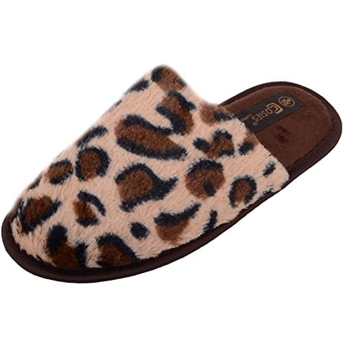 8d2f7379c602 Womens Slip On Leopard Print Mules/Slippers/Shoes with Rubber Sole - Dark  Brown