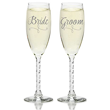 Bride & Groom Champagne Flutes - Elegant Wedding Toast Glass Set for  Couples - Mr & Mrs Glasses With Gift Box for Engagement, Wedding,  Anniversary
