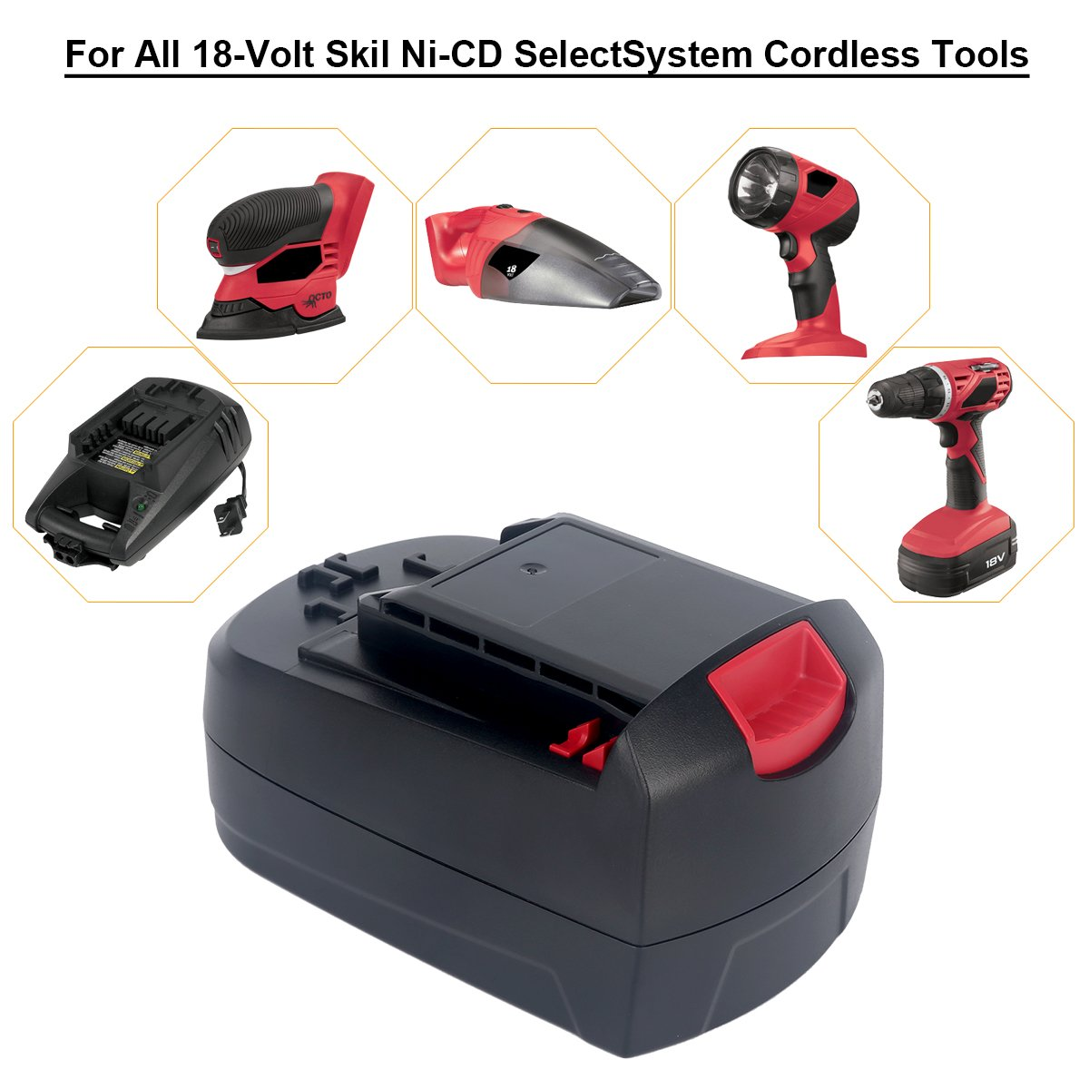 Biswaye 2Pack 18V Battery SB18C SB18A SB18B for Skil 18V Select System Cordless Tools 2810 2888 2895 2897 2898 4570 5850 5995 7305 9350, 3000mAh Ni-Cd by Biswaye (Image #6)