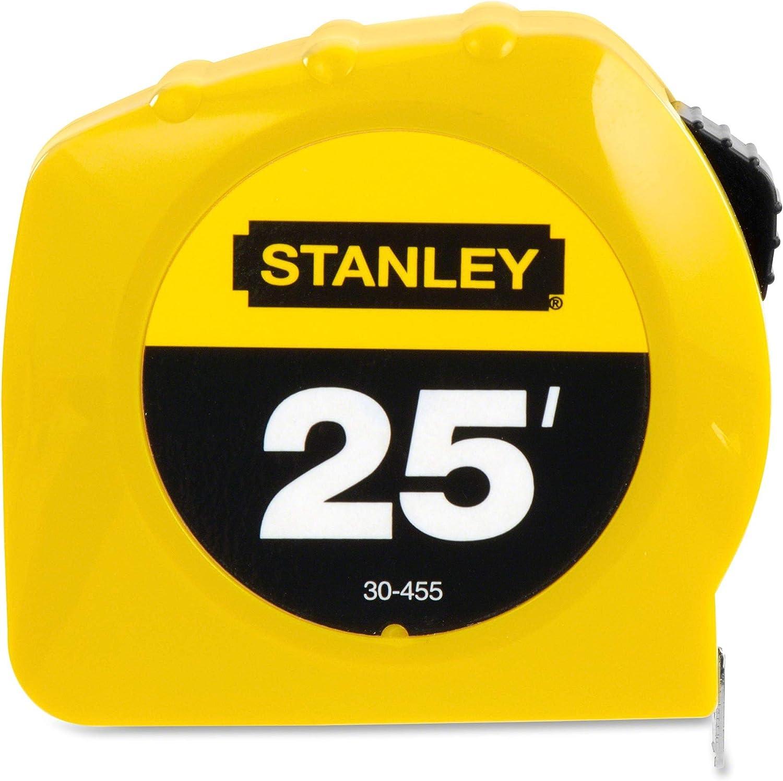 "6 Stanley 30-455 Case of 1/"" x 25/' Yellow Tape Measure Rule Top Lock"