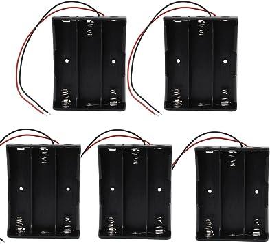 KEESIN 3.7V 18650 Caja de Soporte de Batería Caja de Almacenamiento de Batería de Plástico con Cables y Abrazaderas de Cables Autoadhesivas (3 Solts × 5 piezas): Amazon.es: Electrónica