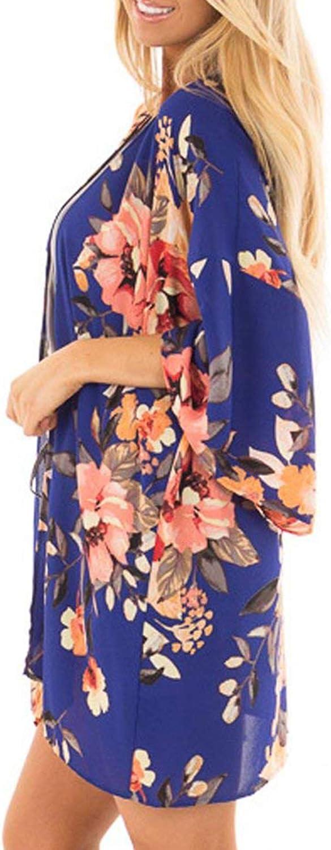 Relipop Womens Chiffon Blouse Loose Tops Beach Kimono Floral Print Cardigan