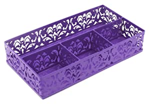 EasyPAG Desk Drawer Organizer with 3 Small Bins and 1 Long Bin,Purple