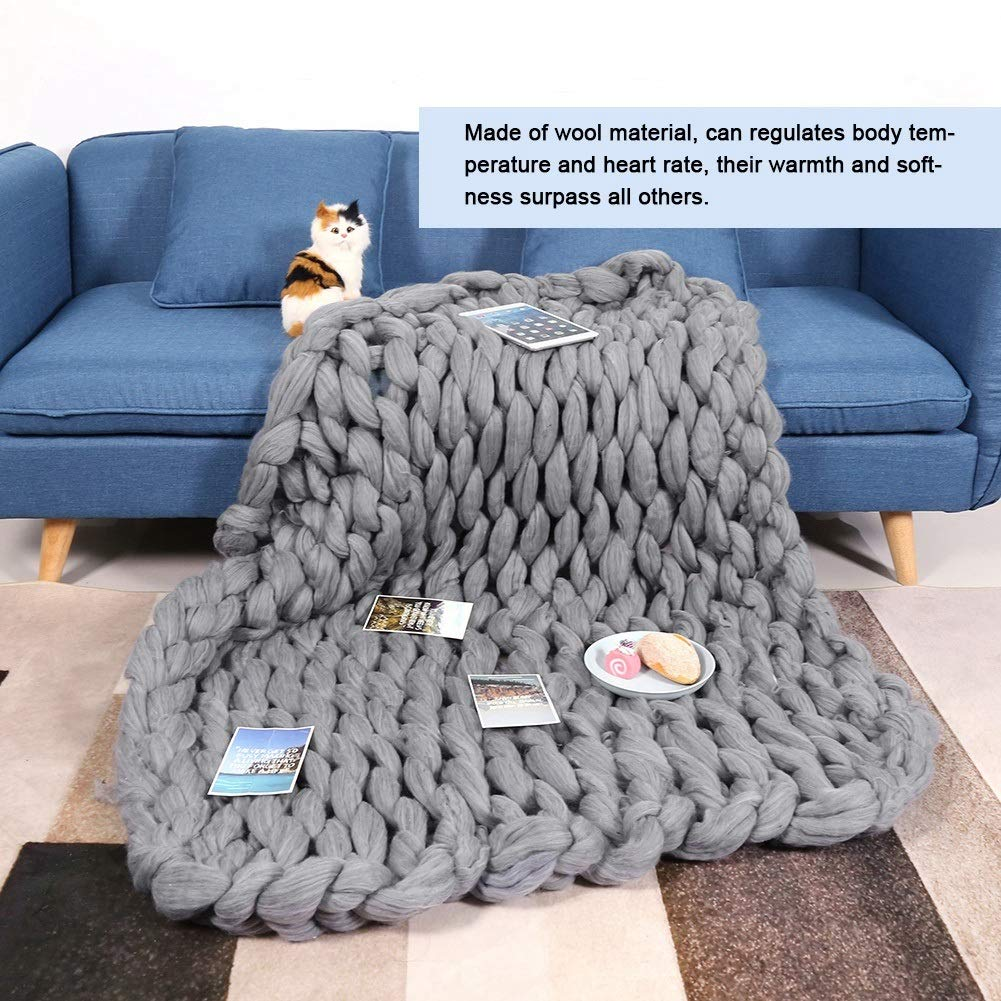 Knitted Blanket - Handmade Knitted Warm Blanket, Wool Thick Line Blanket Throw, Home Decor (Size : 100 x 130 cm) by DeWin (Image #2)