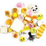 OPount 20 Pieces Random Kawaii Soft Squishies Bread Phone Charm Key Chain Strap , Assorted Patterns