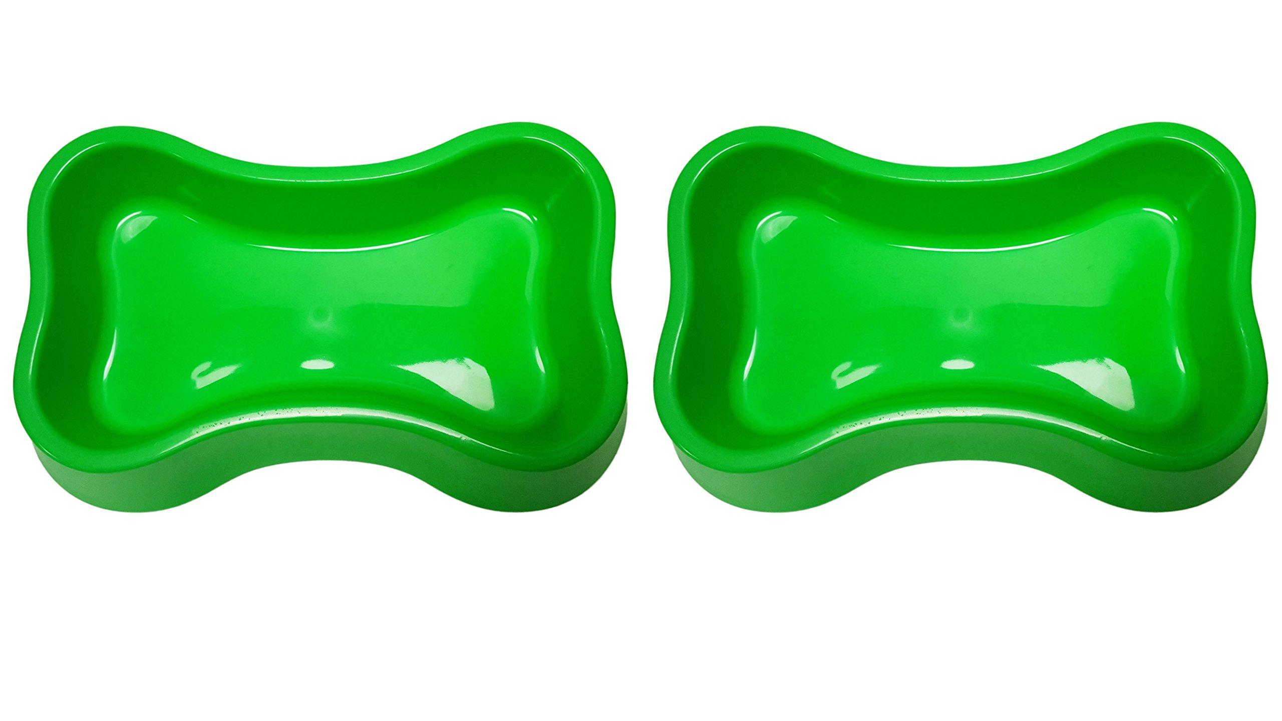 Black Duck Brand Set of 2 Large Pet Bowls! 3 and 6 BPA Free! (Green Bone 2pk) by Black Duck Brand