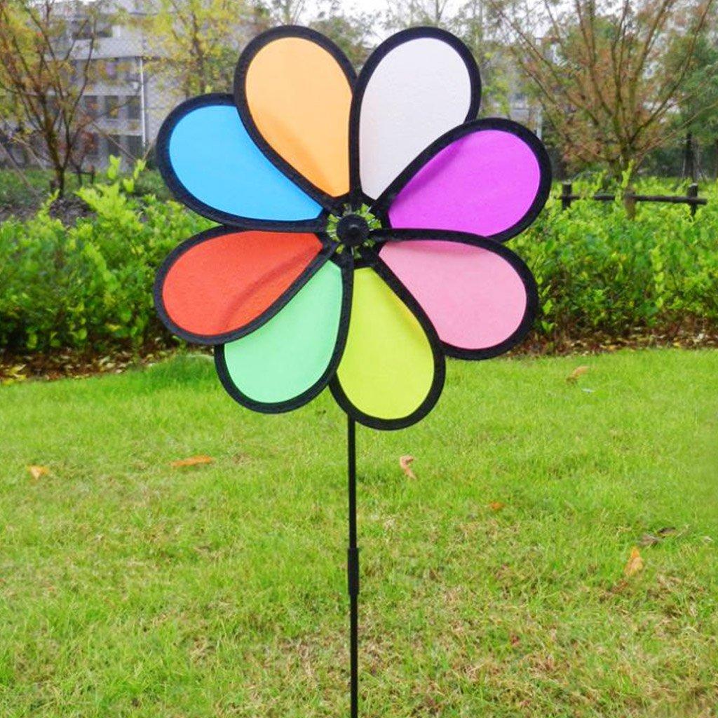8Pcs Garden Lawn Rainbow Wheel Windmill Wind Spinner Whirligig Wind Spinners LA