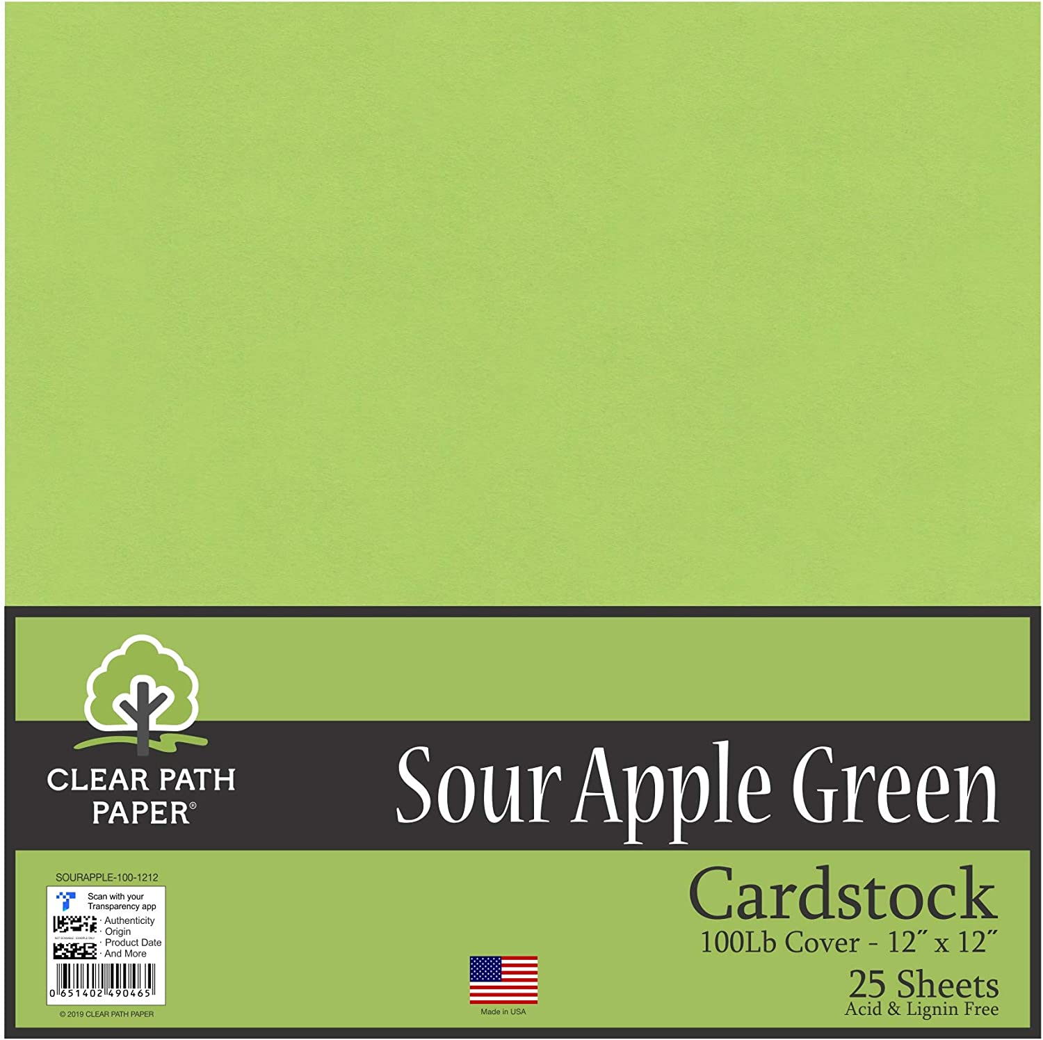 Sour Apple Green Cardstock - 12 x 12 inch - 100Lb Cover - 25 Sheets - Clear Path Paper