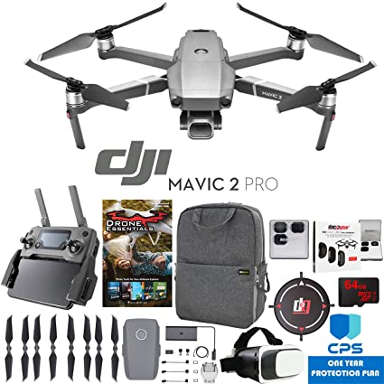 DJI Mavic 2 Pro Drone with Hasselblad Camera Pro Essential Bundle with  Backpack Case, Multi Coated Filter Kit, VR Goggles, 64GB High Speed SDXC  Card,