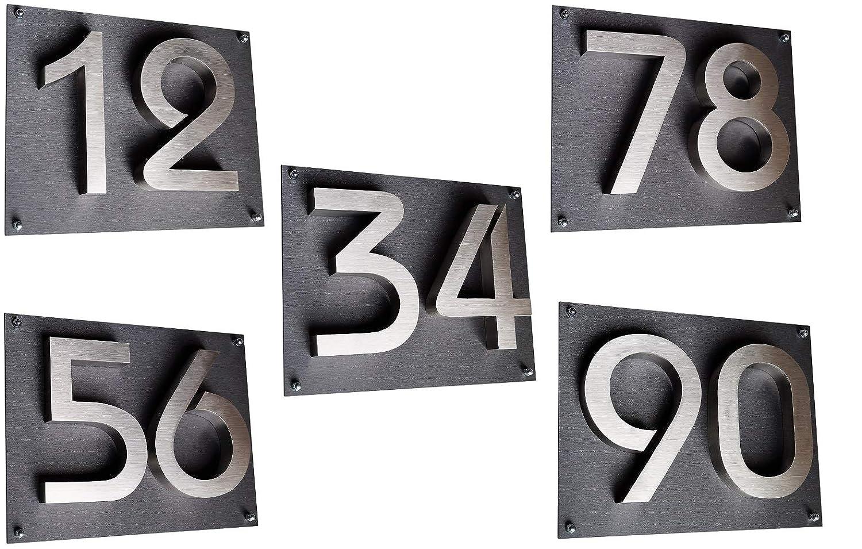 Montagematerial Alle Hausnummern erh/ältlich Hausnummer 3 Edelstahl 3D Design Arial rostfrei witterungsbest/ändig 20cm H/öhe geb/ürsteter Edelstahl V2A inkl 0 1 2 3 4 5 6 7 8 9 A B C D