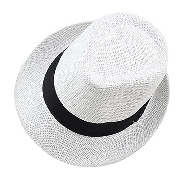 Aieoe-Enfant Chapeau de Paille Unisex Chapeau Panama Capeline Chapeau D été  Anti- b3e4027df16