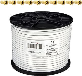PremiumX - 100m cable coaxial SAT cable de antena cable coaxial 130dB, 4 veces blindado para sistemas DVB-S / S2 DVB-C y DVB-T BK + 10 conectores F chapados en oro SET