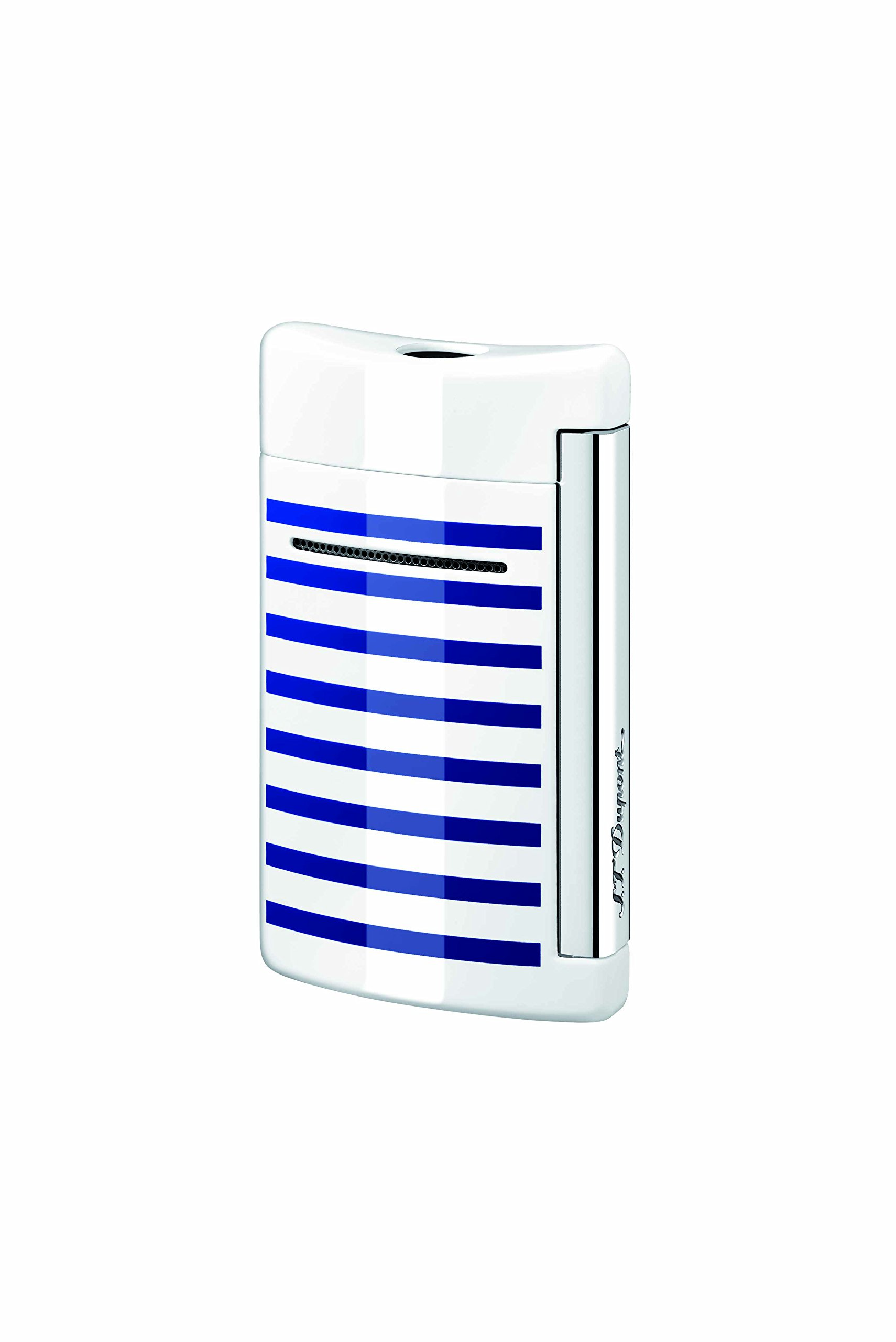 S.T. Dupont Minijet White with Blue Stripes Torch Flame Lighter 10106