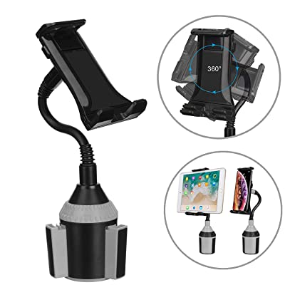 MiaodaM 360° Swivel Cup Holder Phone Mount Universal Adjustable Gooseneck Cup Holder Cradle Car Mount for Cell Phone iPhone 11/11 Pro/XR/XS/XS Max/iPad/iPod Electronics Devices from 4.7'' to 10.5''