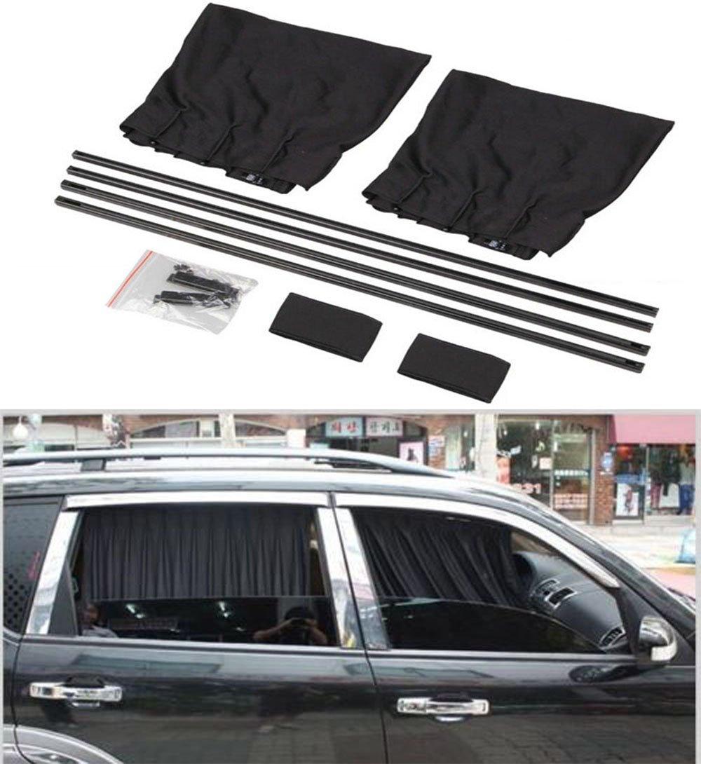 BININBOX 2X 70//50cm Auto Rear Valance UV Sunshade Drape Visor Car Side Window Curtain 70S, Black Breathable Mesh