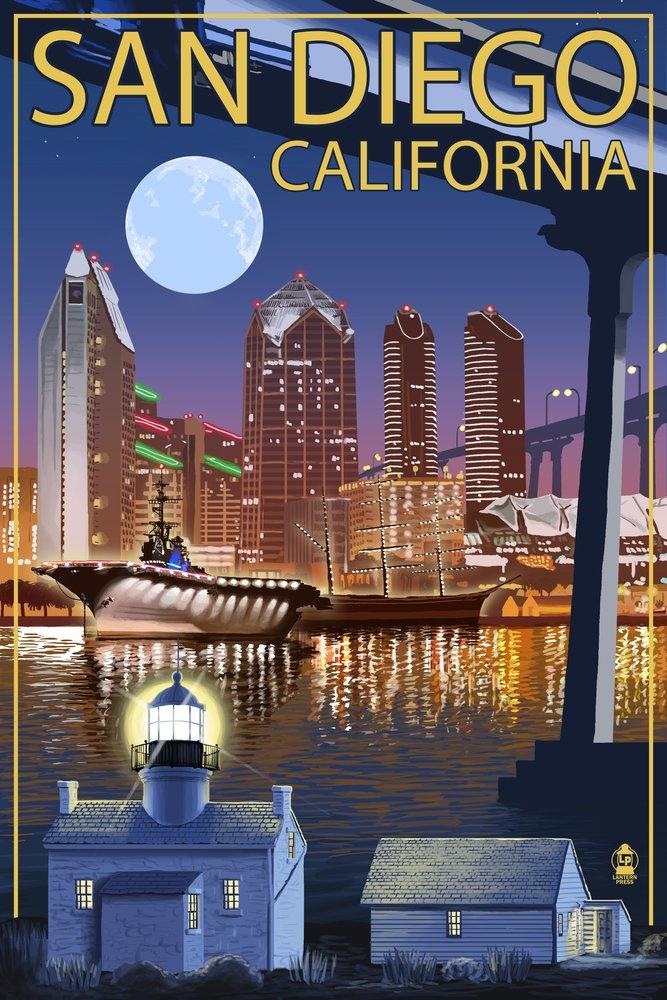 サンディエゴ、カリフォルニア州 – 夜のスカイライン 24 x 36 Signed Art Print LANT-34139-710 B07B29M8WN 24 x 36 Signed Art Print24 x 36 Signed Art Print