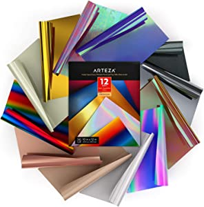 Arteza Heat Transfer Vinyl Set, 12 Flexible HTV Sheets, 10x12 Inches Each, Sturdy & Easy to Weed, Safe & Nontoxic, Use with Any Craft Cutting Machine, Assorted Colors, Boxed