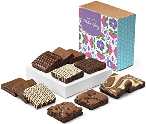 Fairytale Brownies Mother's Day Nut-Free Dozen Individually Wrapped Gourmet Chocolate Food Gift Basket - 3 Inch Square Full-Size Brownies - 12 Pieces - Item CM122