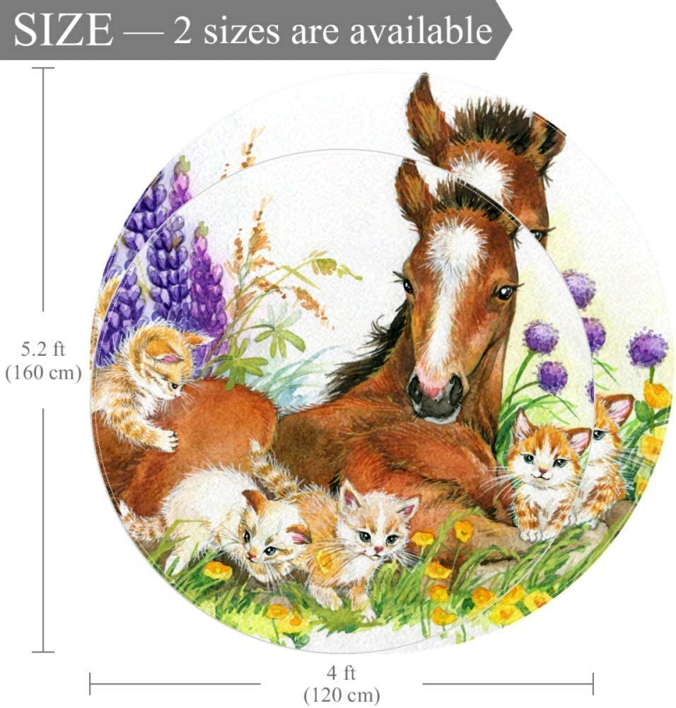 Wetia Garden Horse Cat Round area rug for kid Non-slip outdoor rugs super soft with a suede surface for living room kids bedroom baby room balcony circle 4