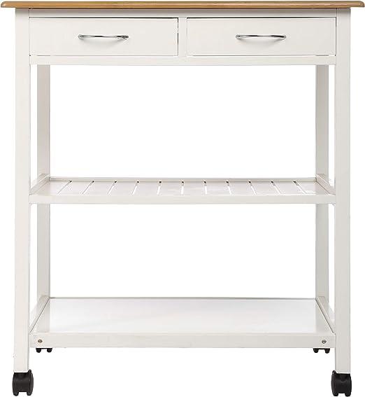 Mesa de cocina para postres, 2 cajones y 2 repisas: Amazon.es: Hogar