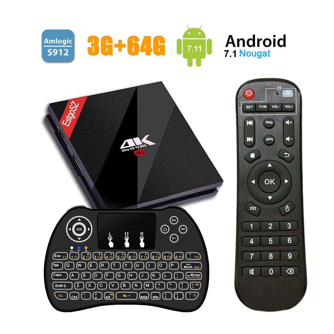 EstgoSZ Android 7.1 TV Box,3GB + 64GB 4K HD Smart TV Box avec Amlogic S912 Octa-Core 64bits, Boîtier TV avec Mini Clavier Rétroéclairé Sans Fil Support WiFi 2.4/5GHz Ethernet 1000M Bluetooth 4.1 H.265 UKSoku 3+64G+JP