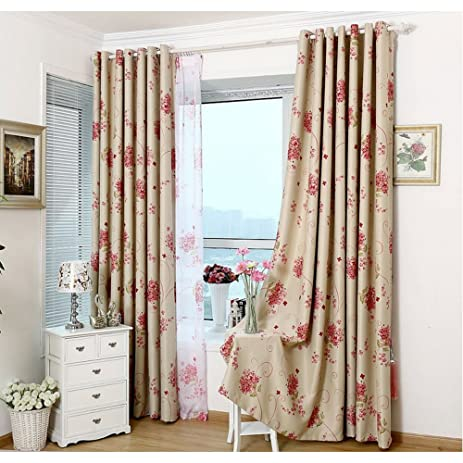Traditional Turquoise Red Flower Blackout Curtains For Bedroom Silver  Grommet Top Two Panels