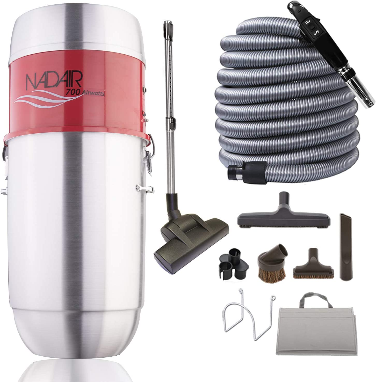Nadair 700 AW Heavy Duty Central Vacuum System, Hybrid Filtration (with or Without Disposable Bags), 32L or 8.5 Gal, with 30ft Deluxe Plus Accessory Kit Included, Silver