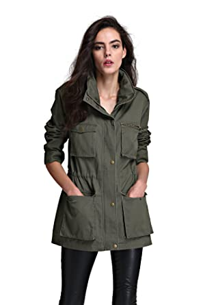 Escalier Green Military Jacket With Hood Ulitily Army Anorak for ...
