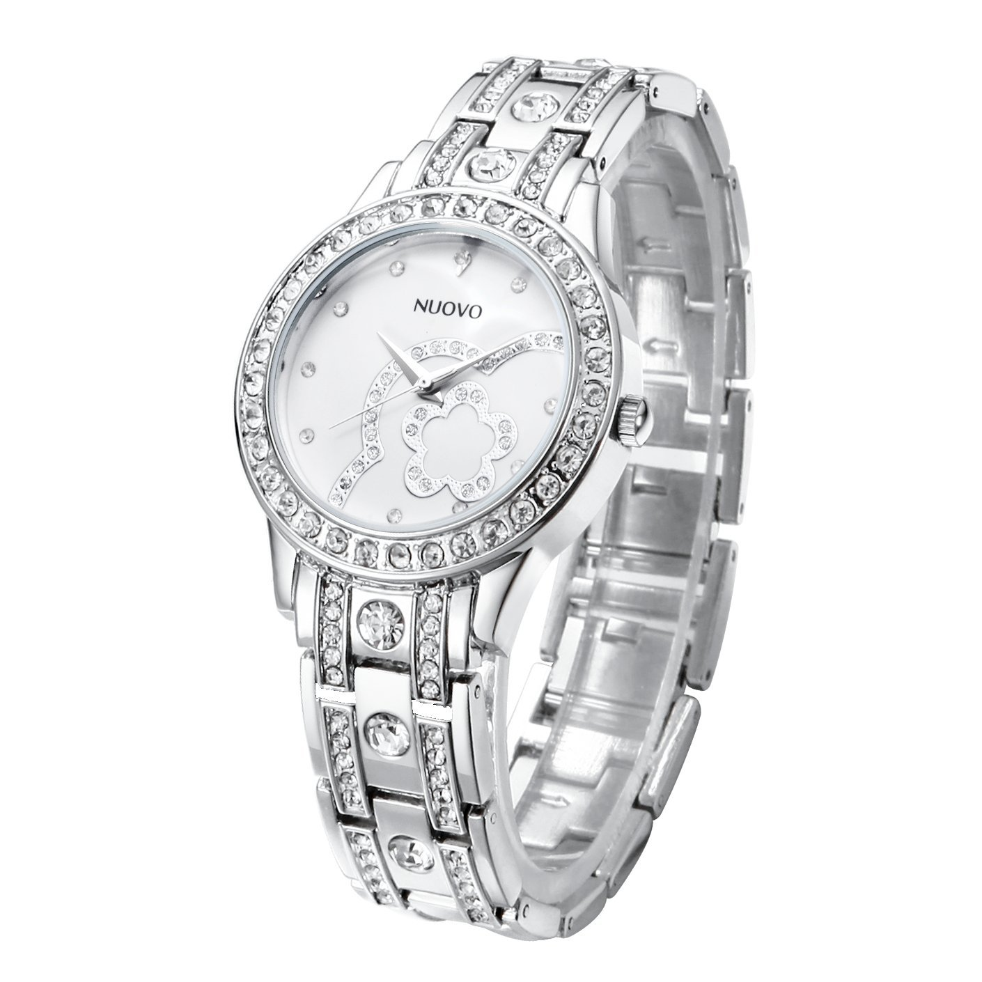 Nuovo Ladies Watch Silver Diamond Accented with Stainless Steel Band Fashion Elegant Women Watches (Flower)