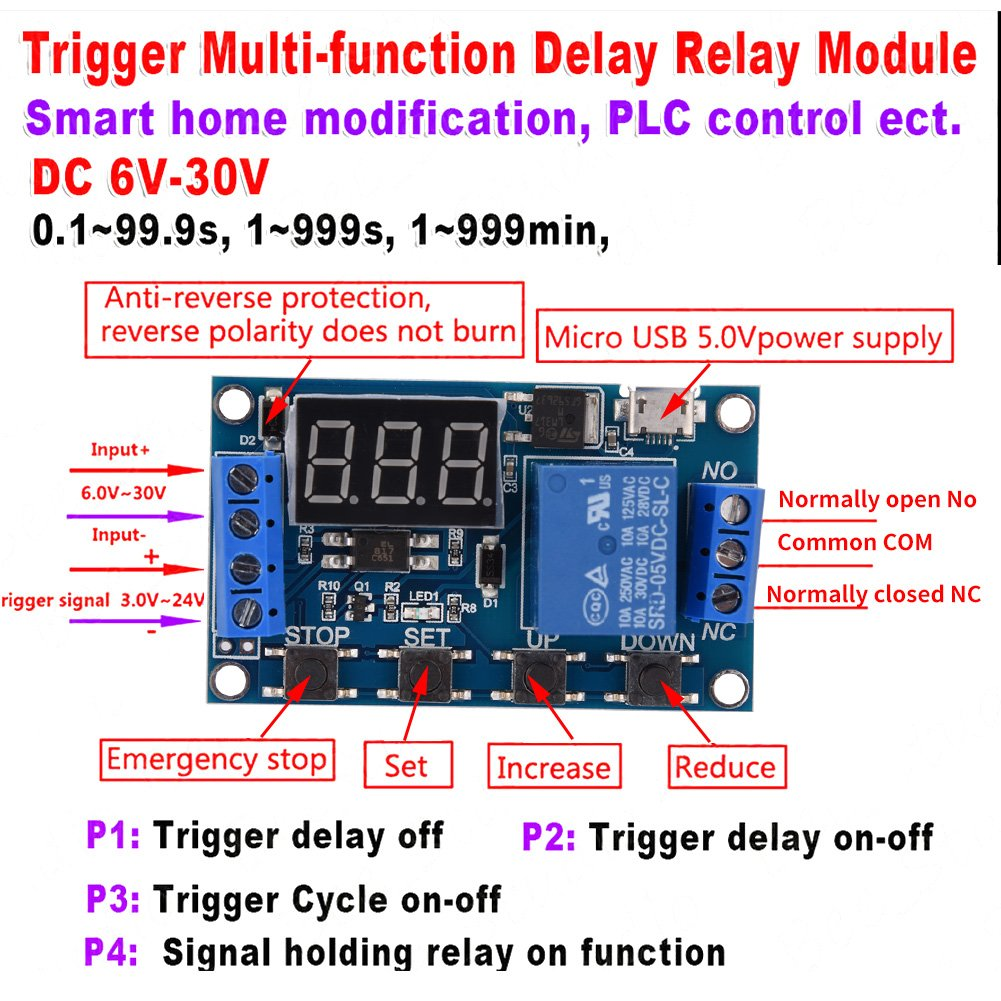 Dc 6v30v Multifunction Trigger Delay Time Module Switch 6v Power Supply With 12v Relay Diagram And Circuit Control Cycle Timer Digit Led Display Micro Usb 5v Industrial Scientific