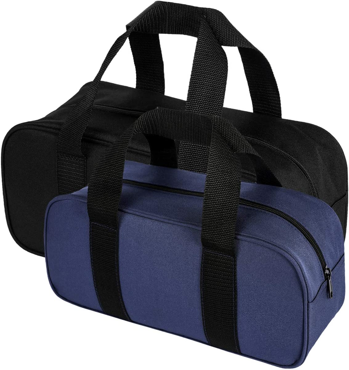 2 pcs Tools Tote Bag, Zipper Closure Tools Bag, One Medium and One Large for Carrying Hand Tools and Other Small to Large Items (1 Black + 1 Blue)