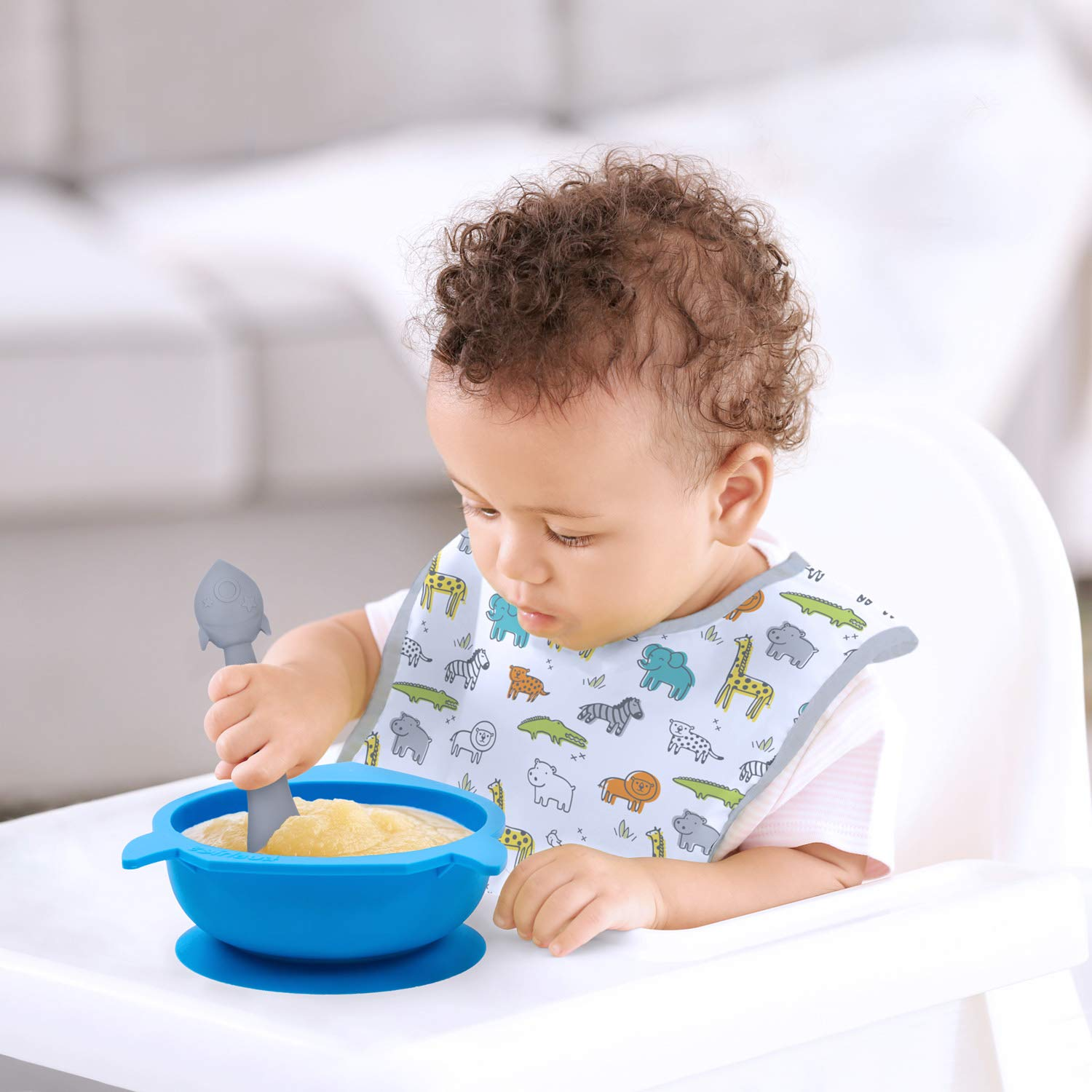 Kushies Baby Silibowl Silicone Bowl with Suction and Spoon Set for Babies Toddlers and Kids Blue Rocket