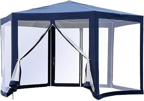 Outsunny Carpa Gazebo Tipo Cenador Hexagonal con Mosquitera para Jardín y Terraza φ3.9m Material de Poliéster Repelente al Agua (Azul): Amazon.es: Jardín