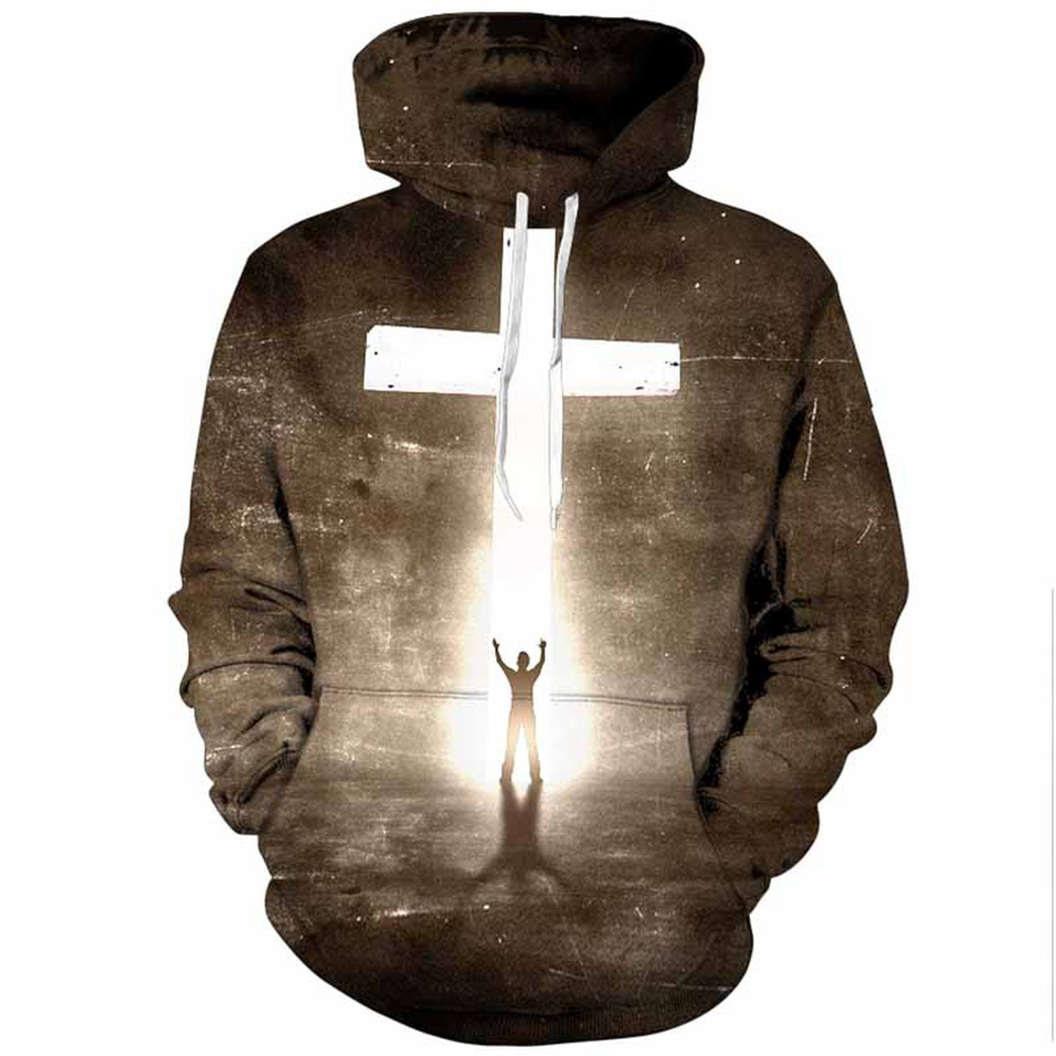 Gift for U. Men Easter Day 3D Print Cross Hoodie Pullovers Tops Spring Tracksuit With Pocket,02,XL