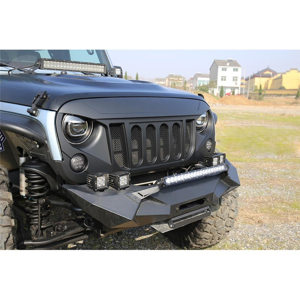 Pack of 7 AUXMART Front Grille Inserts for 1997-2006 Jeep TJ Wrangler Matte Black Clip in Grill Inserts