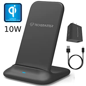 Techsmarter Wireless Charger 10W Fast Charging Stand -Qi Certified - Compatible with Samsung S10, S10E, S10+, S9, S9+, S8, S8+, S7 Note 8/9, iPhone XR, X, XS, XS MAX, 8, 8 Plus, LG G6, G7