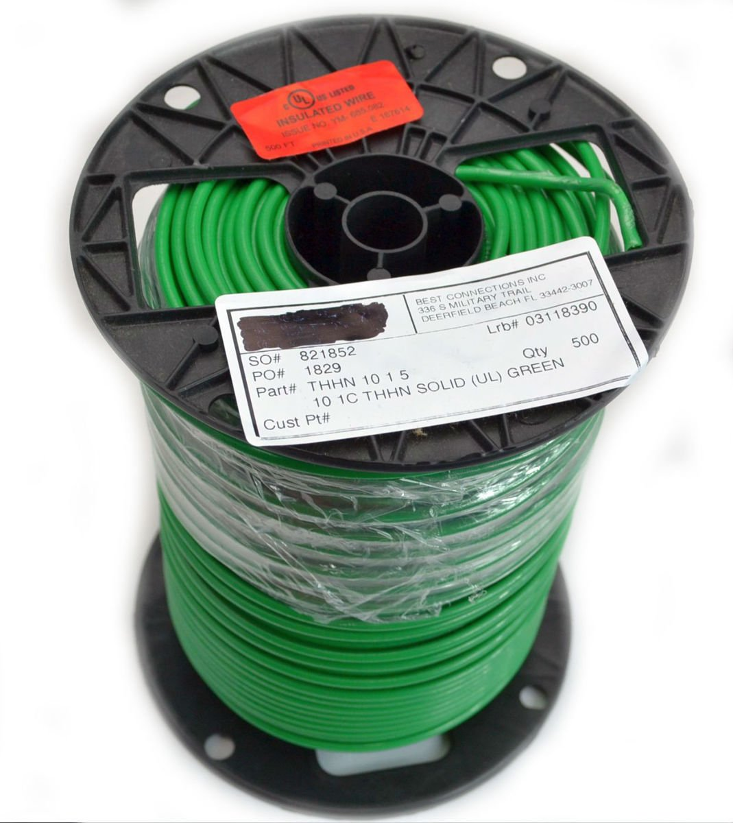 Amazon.com: 500\' FT 10 Gauge AWG Green Ground Wire Solid Copper UL ...