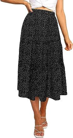 MEROKEETY Women's Boho Leopard Print Skirt Pleated A-Line Swing Midi Skirts