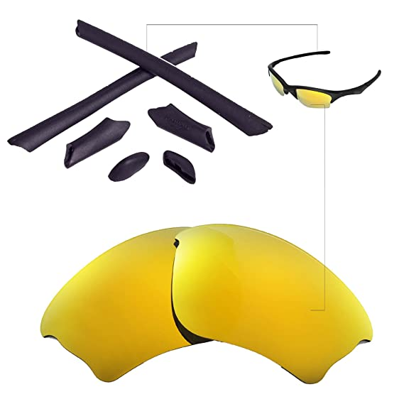 b36e6f821c Walleva Replacement Lenses Or Lenses Rubber Kit for Oakley Half Jacket XLJ  Sunglasses - 41 Options (24K Gold Polarized Lenses + Black Rubber)   Amazon.co.uk  ...
