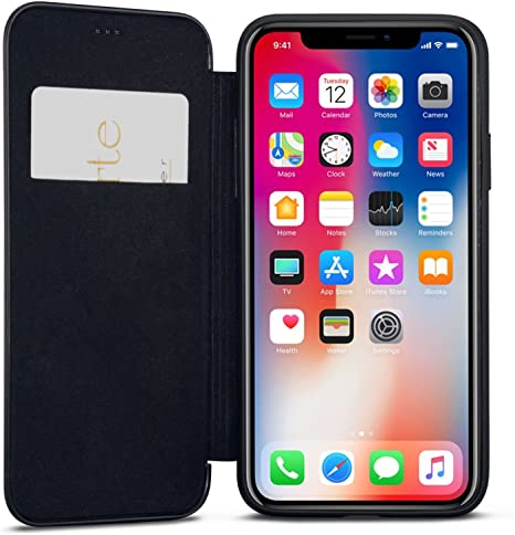 Caseza Cover Iphone Xs Max Nero Similpelle A Libro Dublin Custodia