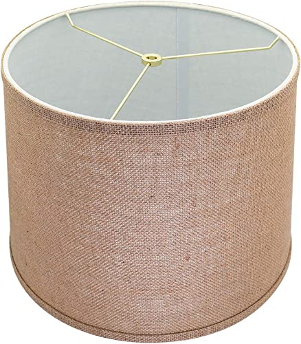 X-Large Mesh Lamp Shades, Alucset Drum Fabric Big Lampshades for Table Lamp and Floor Light,12x14x10 inch,Natural Linen Hand Crafted,Spider Brown, 1pc