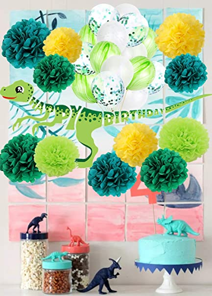Amazon.com: Dinosaur Happy Birthday Decorations Kit Dino ...
