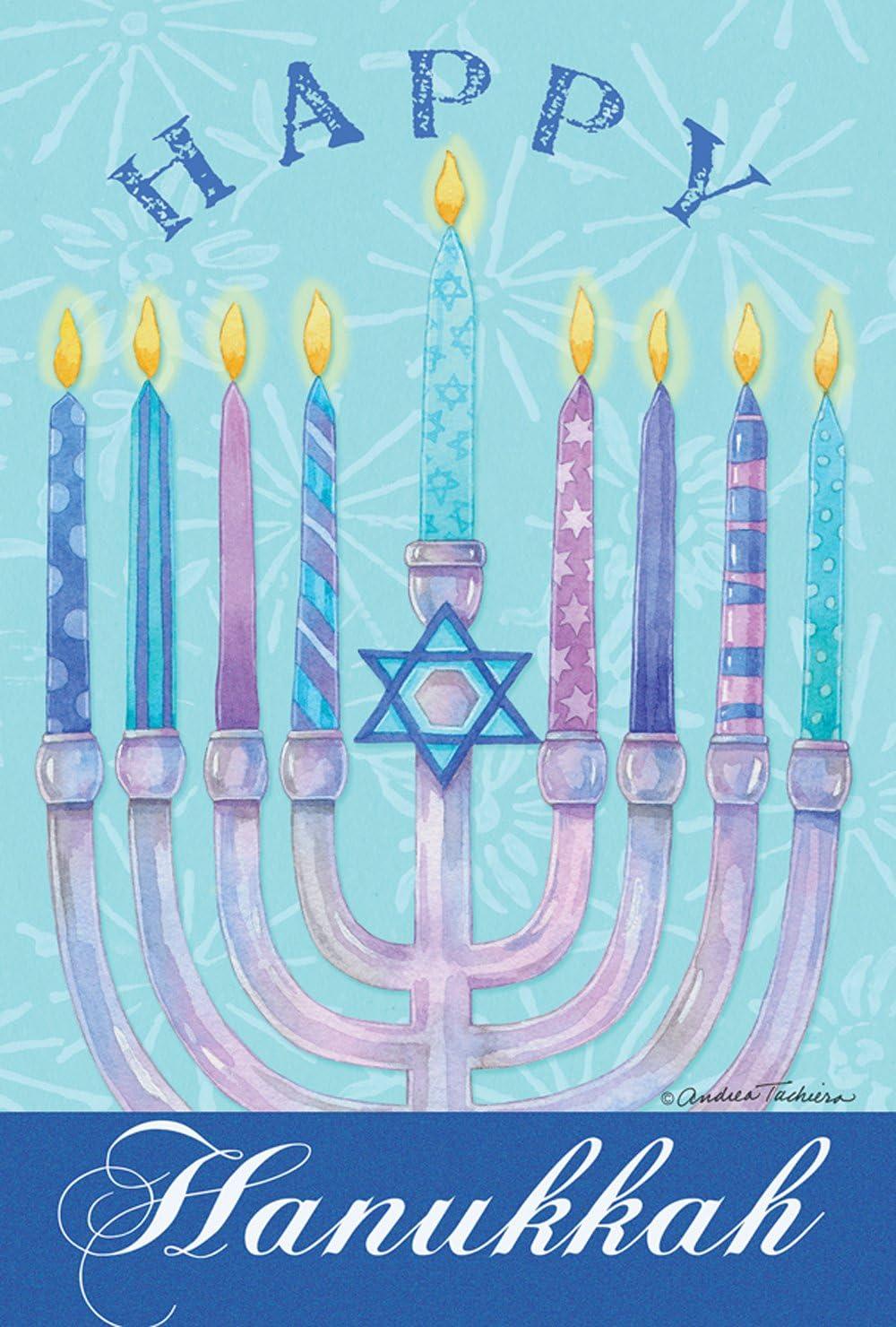 Toland Home Garden Happy Hanukkah 12.5 x 18 Inch Decorative Winter Holiday Menorah Garden Flag - 1110453