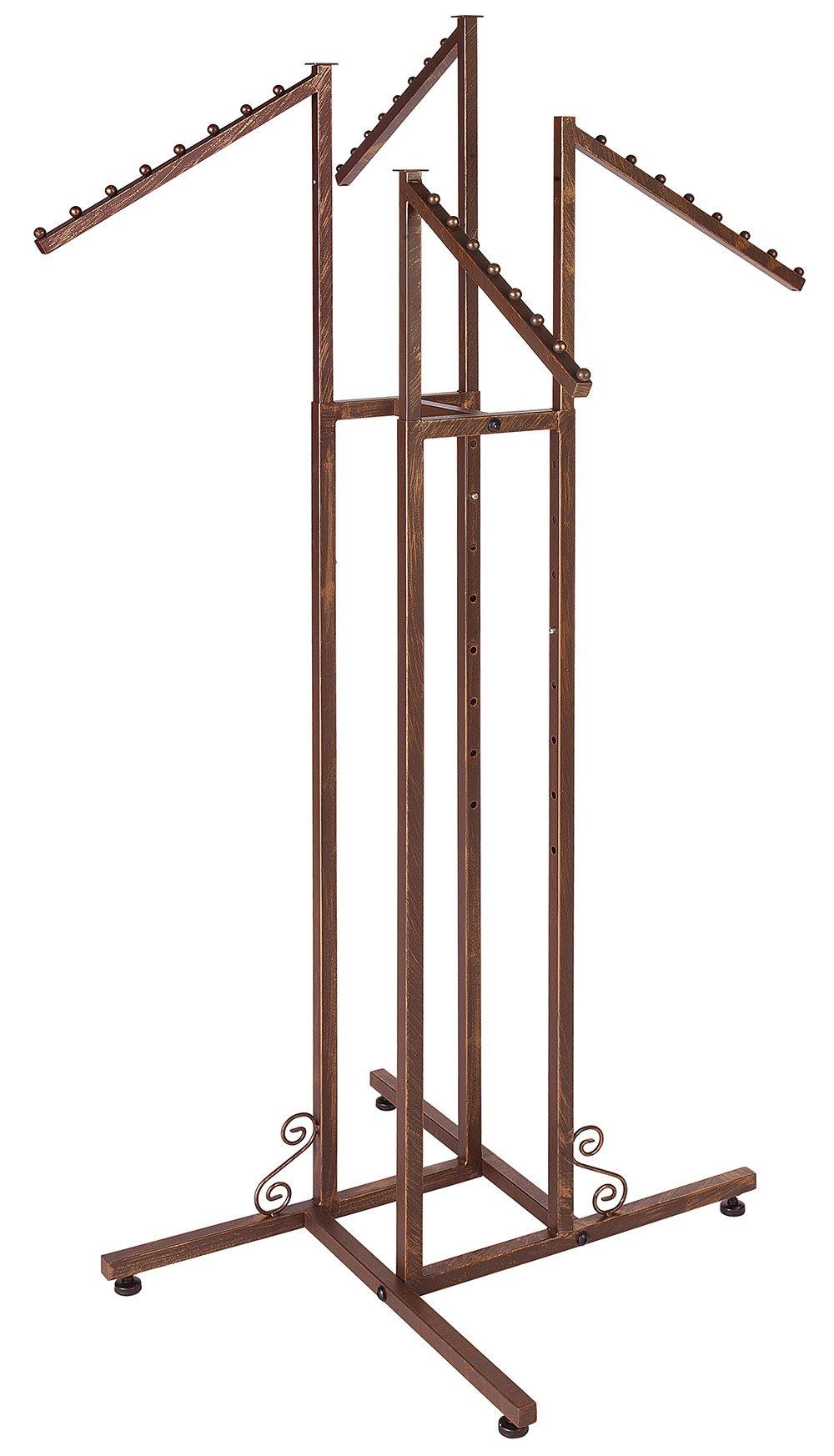 SSWBasics 4-Way Clothing Rack with Slant Arms (Boutique Cobblestone) Heavy Duty Rack
